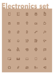 Vector domestic electronics icon set
