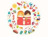 Imagination concept, boy and girl reading a book objects flying