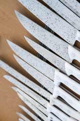 Close up view of a collection of traditional knifes