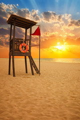 lifeguard hut at sunrise in a Caribbean beach