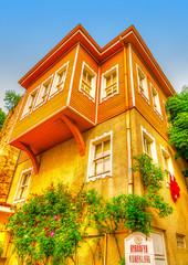 wooden houses across Sogukcesme street Istanbul in Turkey. HDR