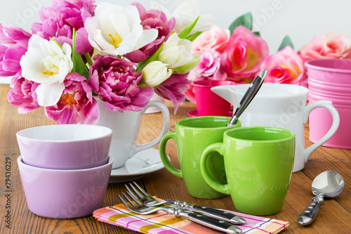 Foto op Aluminium Boord Tisch - Dekoration