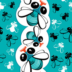 Seamless pattern with funny flies
