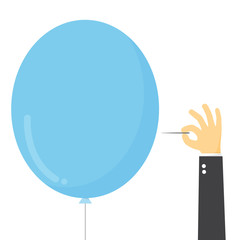 Businessman stab the balloon with needle.