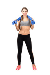 Confident smiling female fitness instructor