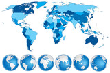 World map blue with countries and globes