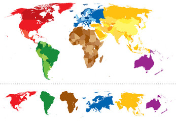 World map continents multicolored