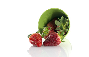 green bucket with red fruit
