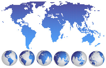 World map dotted with globes