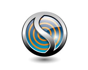 letter S button icon 3D