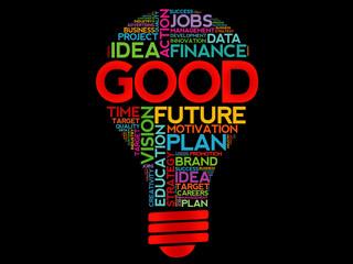 GOOD bulb word cloud, business concept