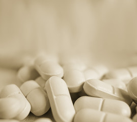 Vintage looking toned image of drugs