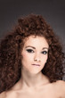 Beauty portrait of curly hair woman