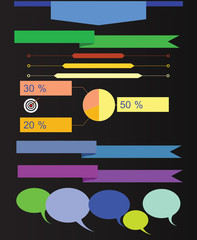 Infographics on a black background. Raster.