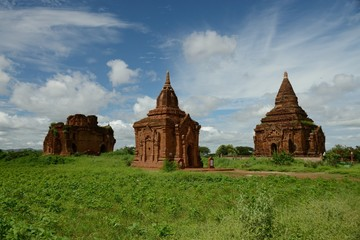 View at ancient buddhist temples in Bagan