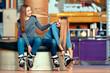 Leinwandbild Motiv Beautiful girls on the rollerdrome