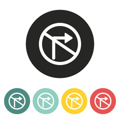 No right turn traffic sign icon.