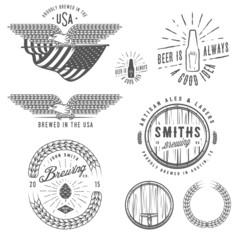 Vintage craft beer brewery emblems, labels and design elements