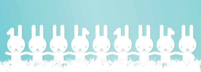 Easter banner - Bunnies in a row, holding hands