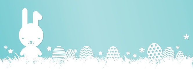Easter banner - Bunny, Cute Easter Eggs, Grass and flowers