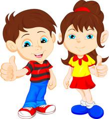boy and girl giving thumb up