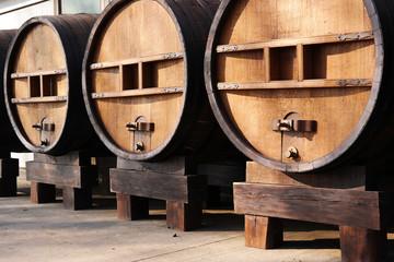 Huge wooden barrels. Large wooden antique casks of 5000 liters
