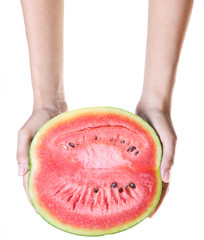 Woman hand hold watermelon