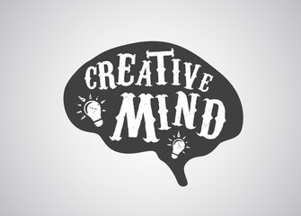 Creative mind concept of human brain in vintage style.