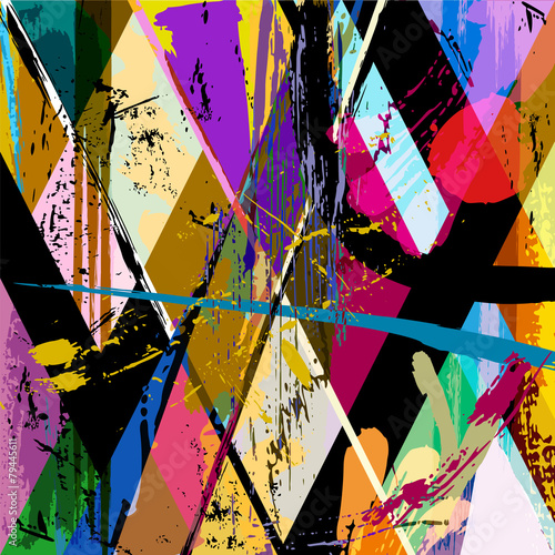 Fotobehang Vormen abstract background composition, with strokes, splashes and geom