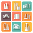 Set of dimensional buildings icons  with shadow - 79445838