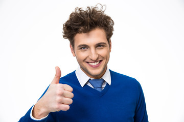 Happy man with thumb up over white background