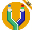 Two optic cable icons on yellow background. Vector illustration - 79447273