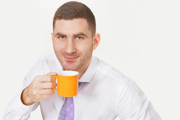 Businessman with the cup that cheers