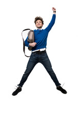 Happy business man jumping with bag over white background