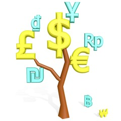 dollar, euro, pound sterling signs on a tree