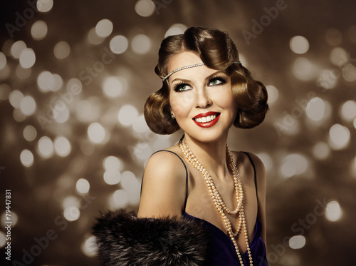 Foto op Canvas Kapsalon Woman Retro Hairstyle Portrait, Elegant Lady Make Up, Curly Hair