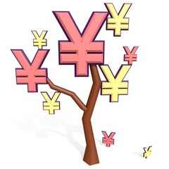 yen and yuan sign on a tree