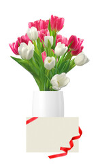Bouquet of pink and white tulips in vase and card isolated on wh
