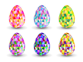 Set of crystal colorful  Easter eggs.