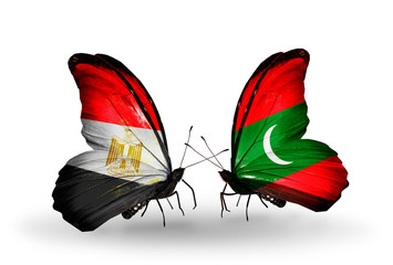 Two butterflies with flags  Egypt and Maldives