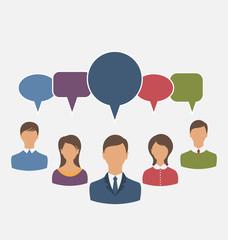 Concept of leadership, dialog speech bubbles