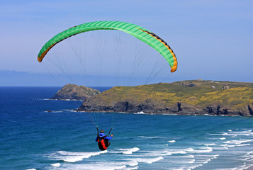 paraglider at Perranporth