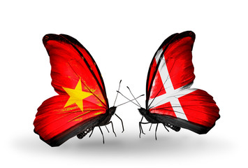 Two butterflies with flags Vietnam and Denmark