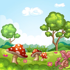 Beautiful  landscape with mushrooms and flowers.