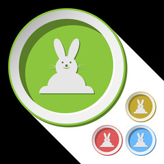 vector color icons with Easter bunny