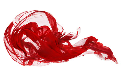 Red Cloth Isolated Over White Background, Fabric Freeze Motion