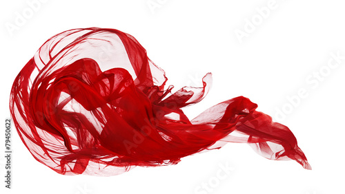Leinwandbild Motiv Red Cloth Isolated Over White Background, Fabric Freeze Motion