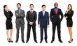 Full-length portrait of group of business people, isolated.