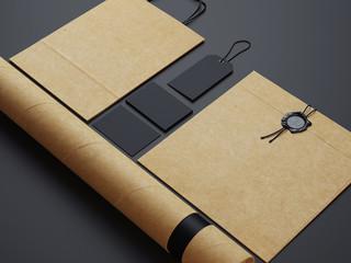 Set of  black and craft branding elements  on black paper