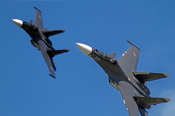 Two Su-30  in the blue sky
